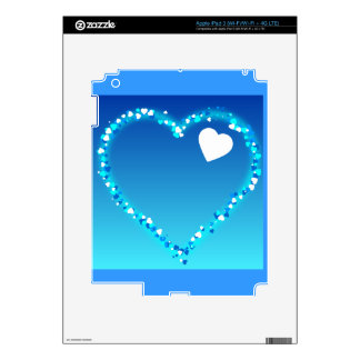 BLUES WHITE SPARKLE HEARTS LOVE DREAMY BACKGROUNDS SKIN FOR iPad 3