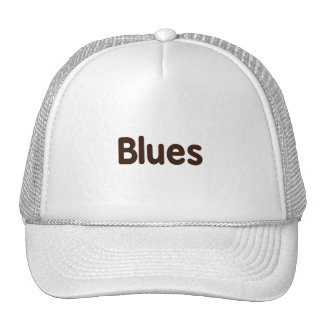 Blues word brown music design png trucker hats
