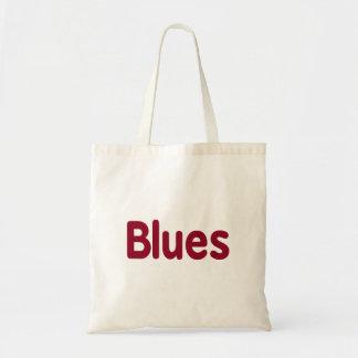 Blues word burgundy music design.png budget tote bag
