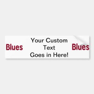 Blues word burgundy music design.png car bumper sticker
