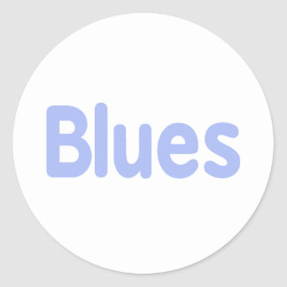 Blues word cornflower music design.png classic round sticker