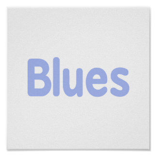 Blues word cornflower music design.png posters
