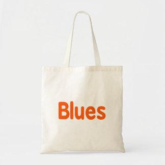 Blues word d orange music design.png budget tote bag