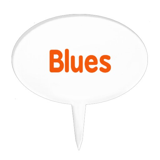 Blues word d orange music design.png cake pick