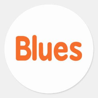Blues word d orange music design.png classic round sticker