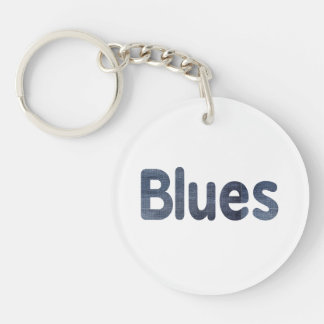 Blues word denim texture musician image.png Double-Sided round acrylic keychain