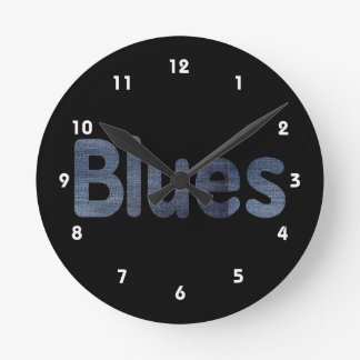 Blues word denim texture musician image.png round clock