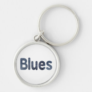 Blues word denim texture musician image.png Silver-Colored round keychain