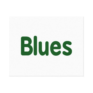 Blues word green music design.png canvas print