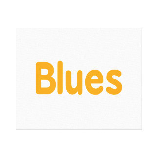 Blues word l orange music design.png canvas print