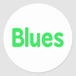 Blues word mint music design.png classic round sticker