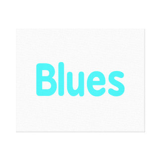 Blues word teal music design.png canvas print