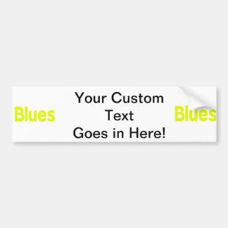 Blues word yellow music design.png car bumper sticker