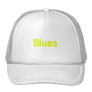 Blues word yellow music design png mesh hats