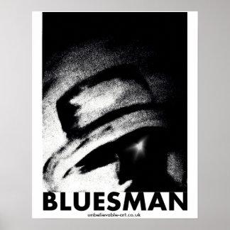 Bluesman, Musicman, músico, azules Póster