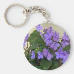 Bluest Blue Violets Basic Round Button Keychain