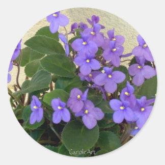 Bluest Blue Violets Classic Round Sticker