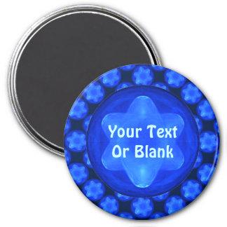 Bluestar Fractal 3 Inch Round Magnet