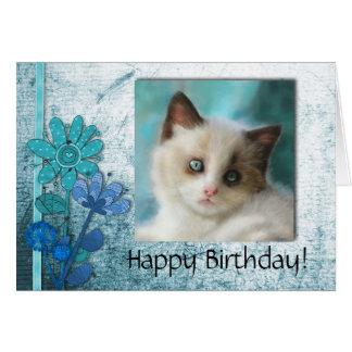 Bluesy Kitten portrait card