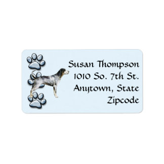 Bluetick Coonhound and 3 pawprints Label