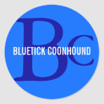 Bluetick Coonhound Breed Monogram Classic Round Sticker