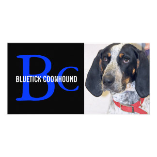 Bluetick Coonhound Breed Monogram Custom Photo Card