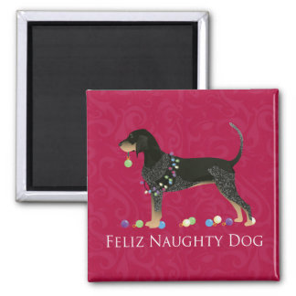 Bluetick Coonhound Christmas 2 Inch Square Magnet