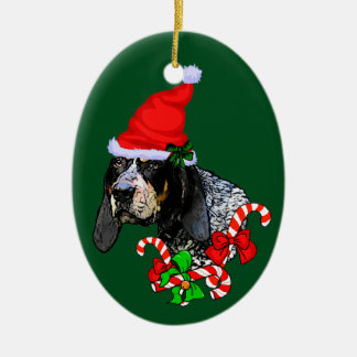 Bluetick Coonhound Christmas Ceramic Ornament