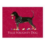 Bluetick Coonhound Christmas Postcard