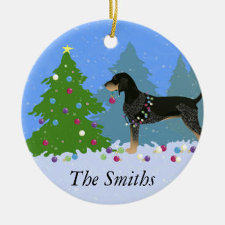 Bluetick Coonhound Decorating Christmas Tree Ceramic Ornament
