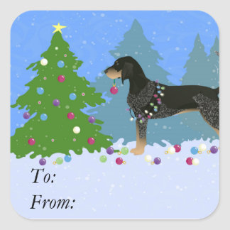 Bluetick Coonhound Decorating Christmas Tree Square Sticker