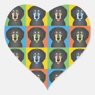 Bluetick Coonhound Dog Cartoon Pop-Art Heart Sticker