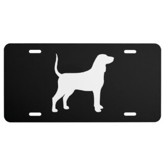 Bluetick Coonhound Silhouette License Plate