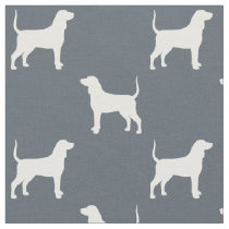 Bluetick Coonhound Silhouettes Pattern Fabric