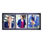 Bluetone Triple Photo Blank Photo Cards Invitations