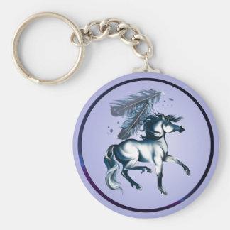 BlueToneHorseandFeathers Keychain