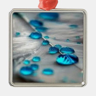 bluewater dropletts square metal christmas ornament