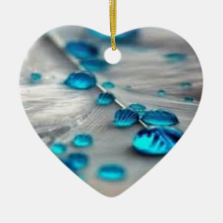 bluewater dropletts Double-Sided heart ceramic christmas ornament
