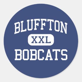 Bluffton - linces - alto - Bluffton Pegatina Redonda