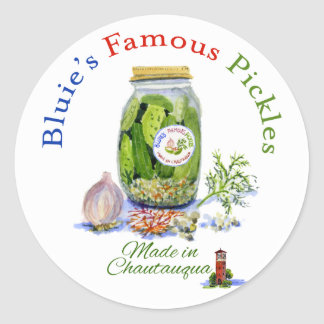Bluie s Famous Jar of Pickles Round Stickers