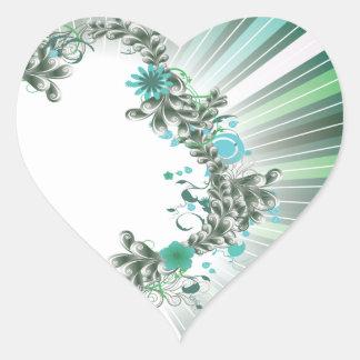 Bluish and Grey floral design on stripped pattern Heart Sticker