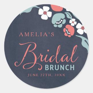 Bluish Chalkboard Floral Bridal Brunch Round Classic Round Sticker