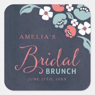 Bluish Chalkboard Floral Bridal Brunch Square Square Sticker