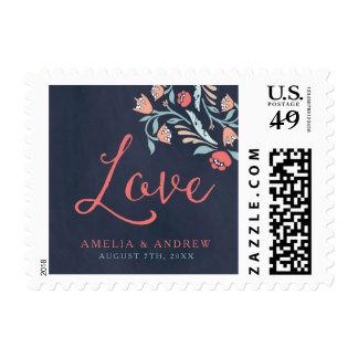 Bluish Chalkboard Floral Wedding Love Postage Stamp