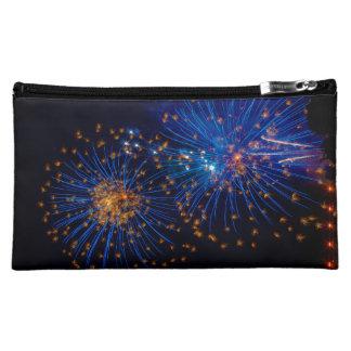 Bluish fireworks cosmetic bag