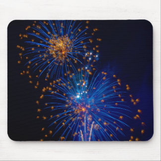 Bluish fireworks mouse pad
