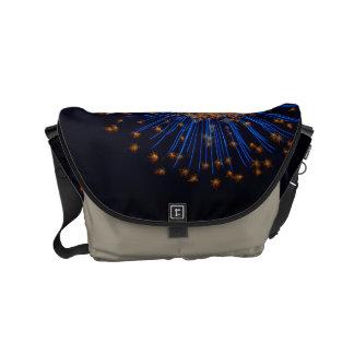 Bluish fireworks small messenger bag