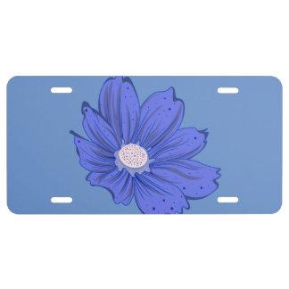 Bluish Flower License Plate