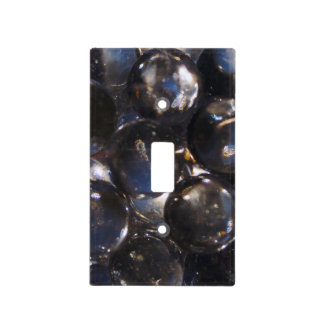 Bluish Glass Pebbles - abstract photograph Light Switch Cover