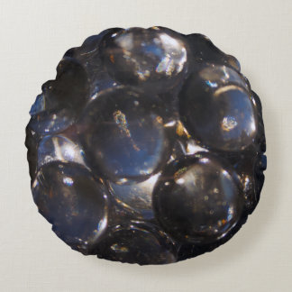 Bluish Glass Pebbles - abstract photograph Round Pillow